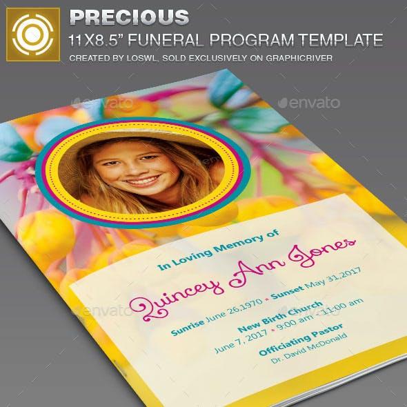 Precious Funeral Program Template