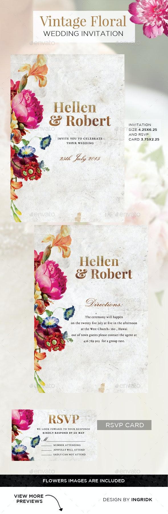 Vintage Floral Wedding Invitation with RSVP Card - Weddings Cards & Invites
