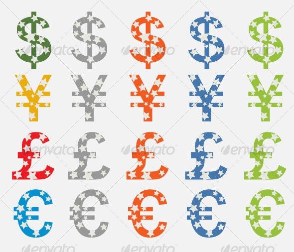 Currency Symbols Dollar, Yen, Pound, Euro