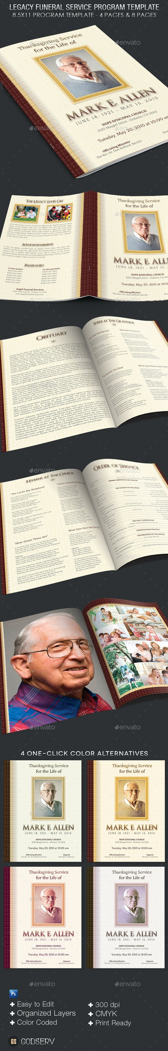 Legacy Funeral Service Program Template - Informational Brochures
