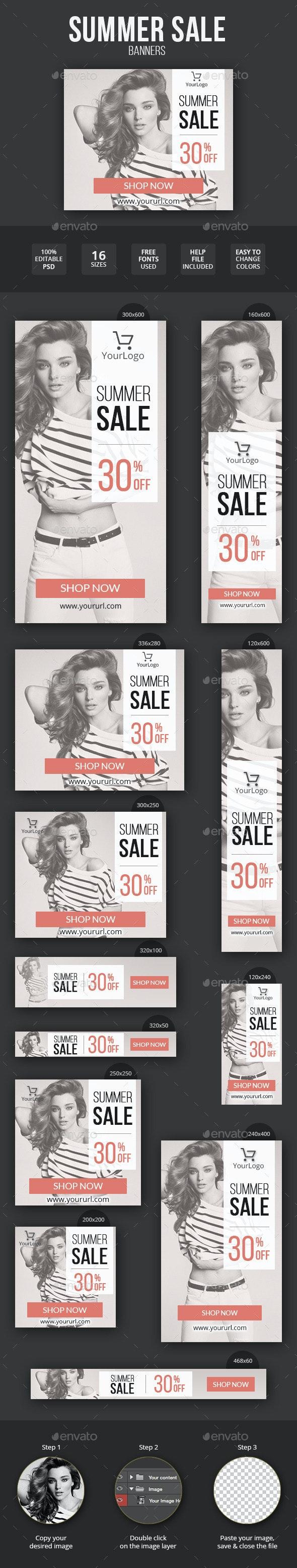 Summer Sale Fashion Banner Set - Banners & Ads Web Elements