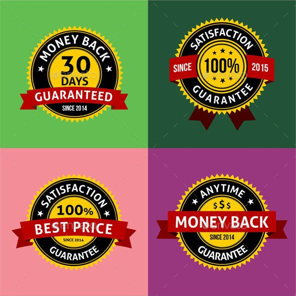 Satisfaction Guarantee Warranty Badges Labels