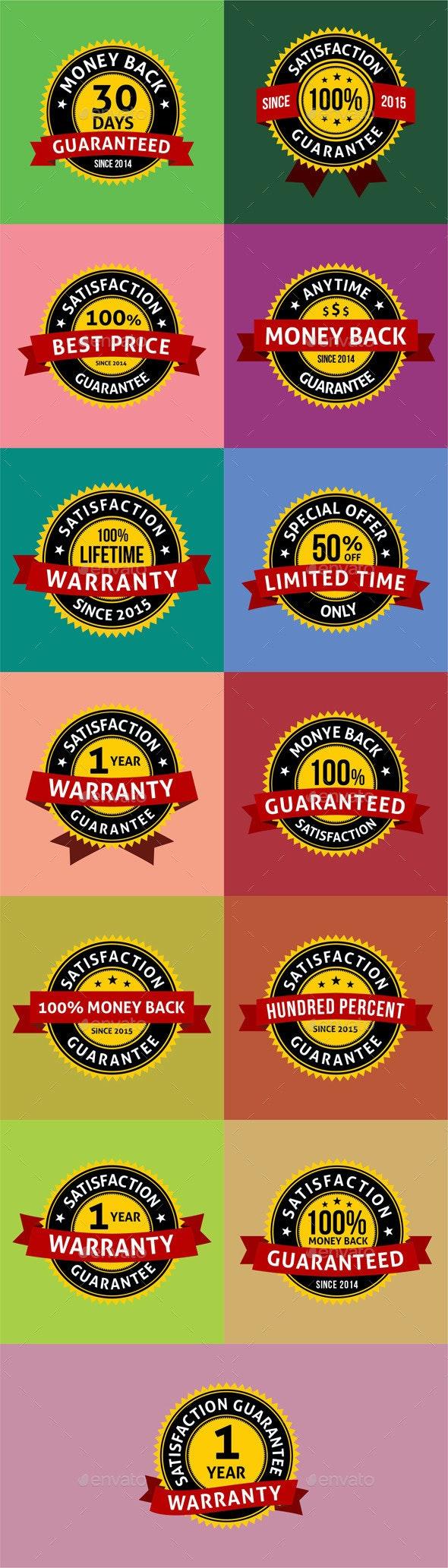Satisfaction Guarantee Warranty Badges Labels - Badges & Stickers Web Elements