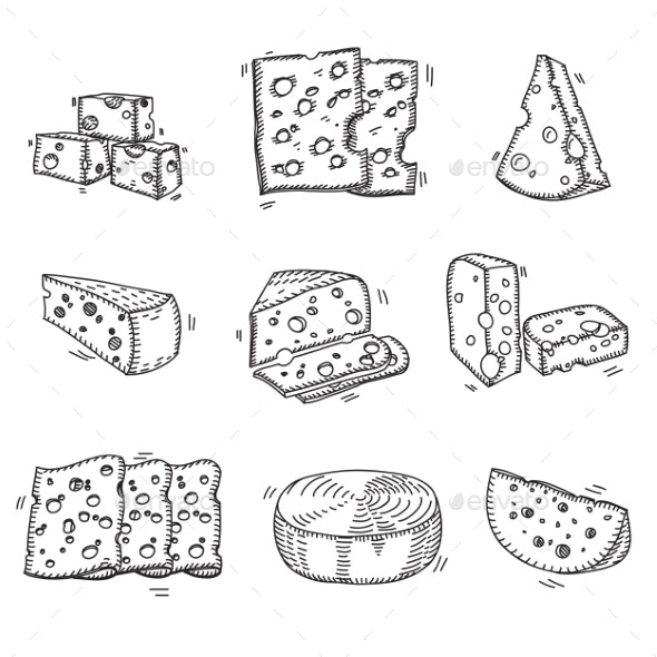 Hand Drawn Doodle Sketch Cheese With Different - Food Objects