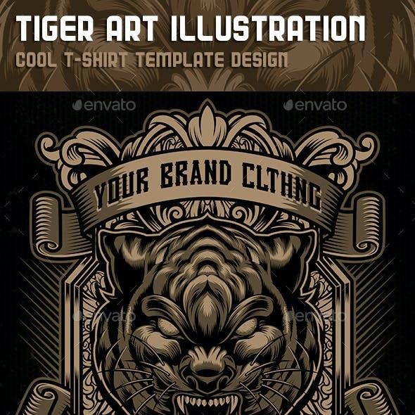 Tiger Art Illustration Tshirt Template Design
