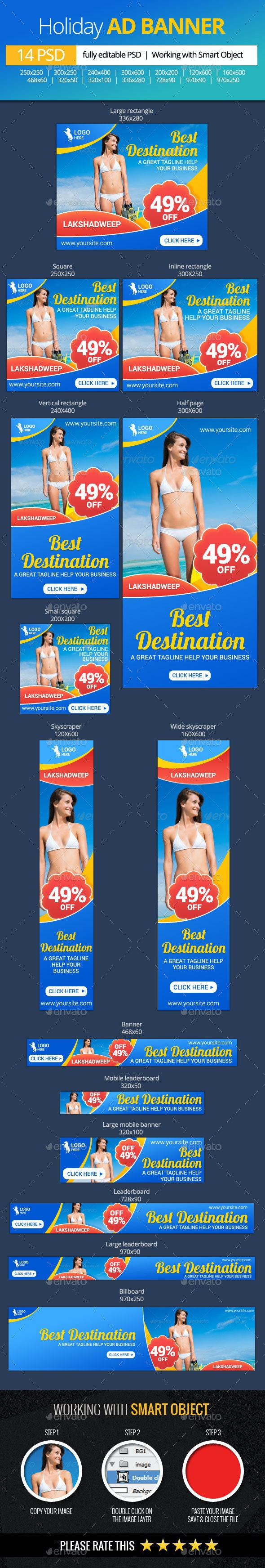 Holiday Vacations Web Banners - Banners & Ads Web Elements