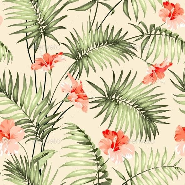 Seamless Pattern Of a Palm. - Backgrounds Decorative