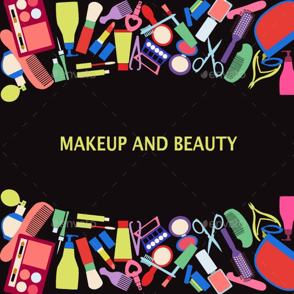 Background of MakeUp and Beauty Cosmetic Symbols