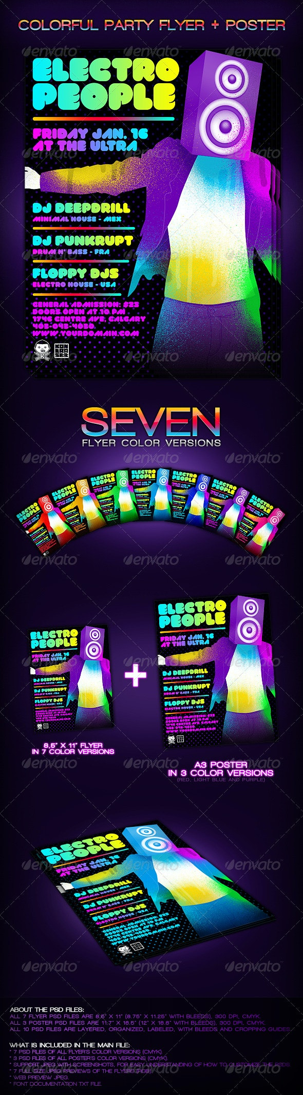 Colorful Party Flyer + Poster - Clubs & Parties Events