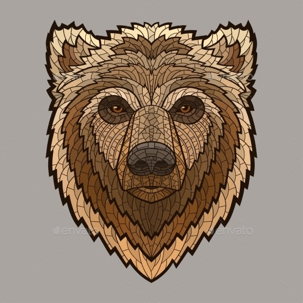 Bear Head In Mosaic Style - Animals Characters