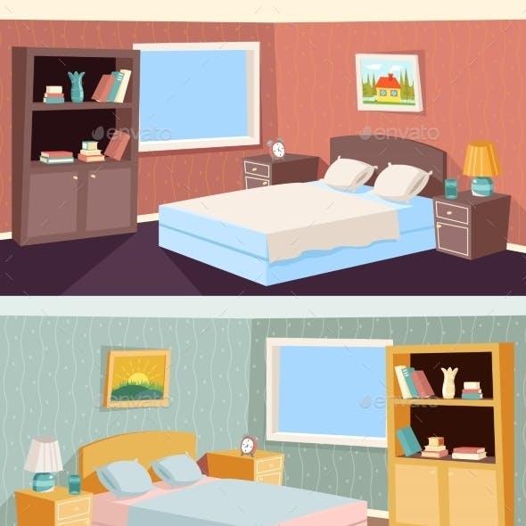 Cartoon Bedroom Apartment Livingroom Interior