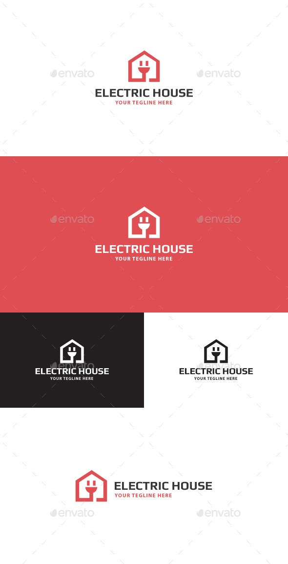 Electric House Logo - Vector Abstract