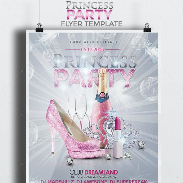 Princess Party Flyer Template