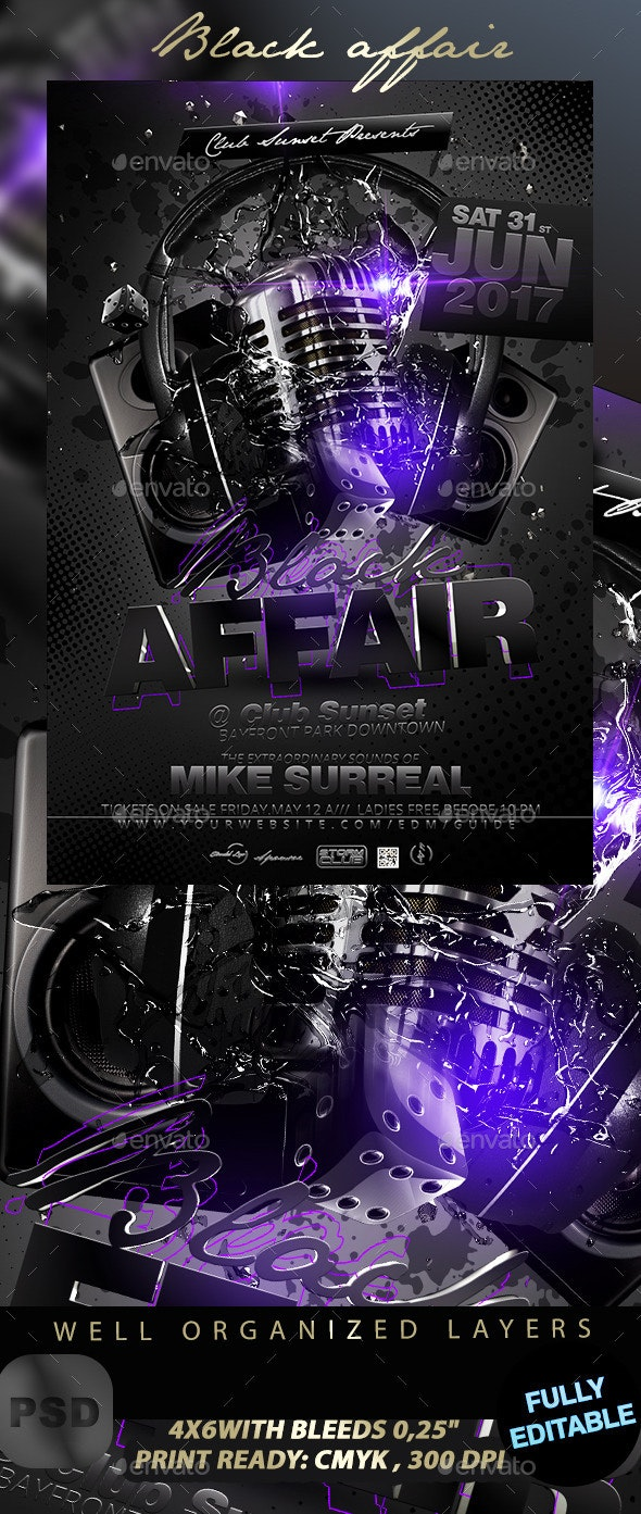 Black Affair Party Flyer - Events Flyers