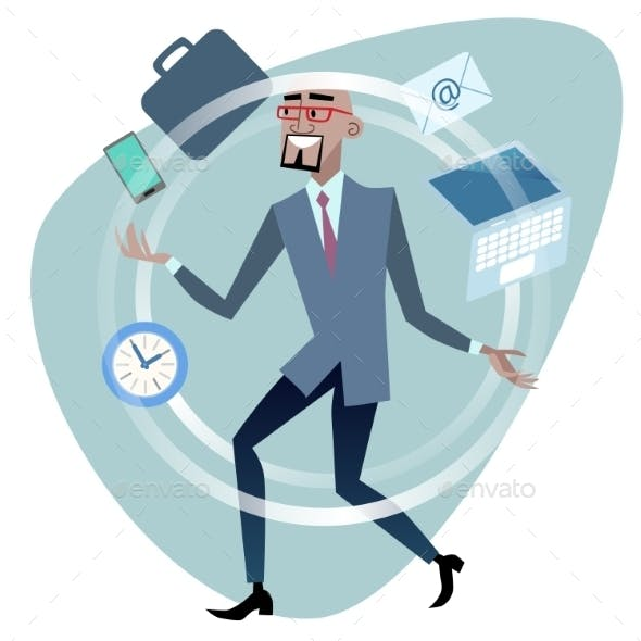 African Businessman Time Management Concept