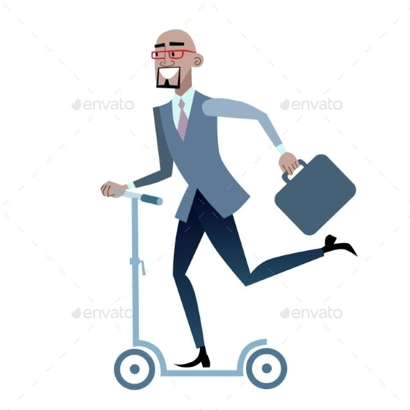 African Businessman On a Scooter Healthy Lifestyle