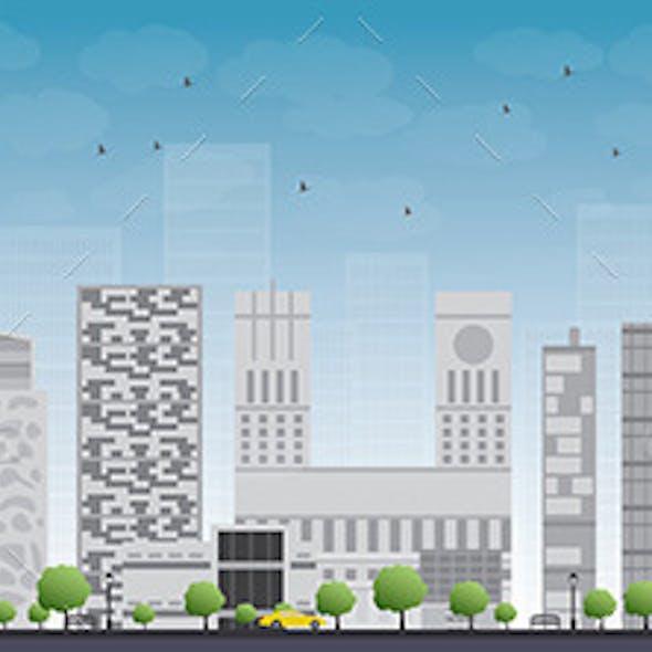 Oslo Skyline with Grey Building and Blue Sky