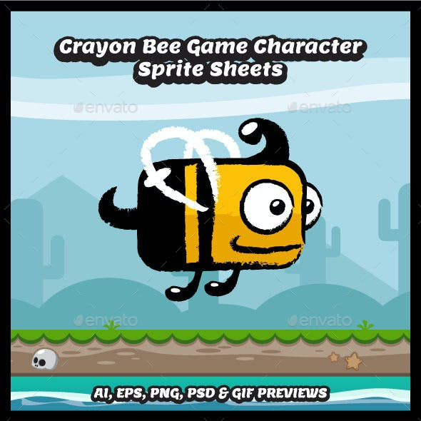 Crayon Style Flappy Bee Game Character