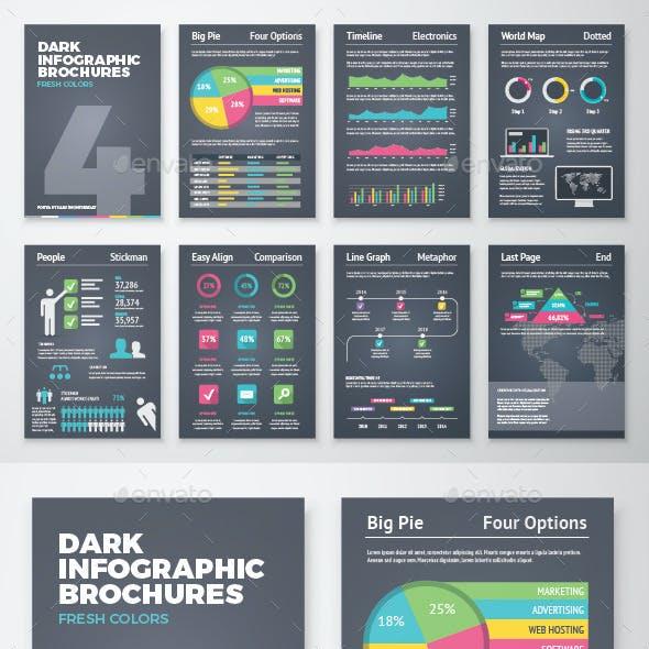 Dark Infographic Brochure Vector Elements Kit 4