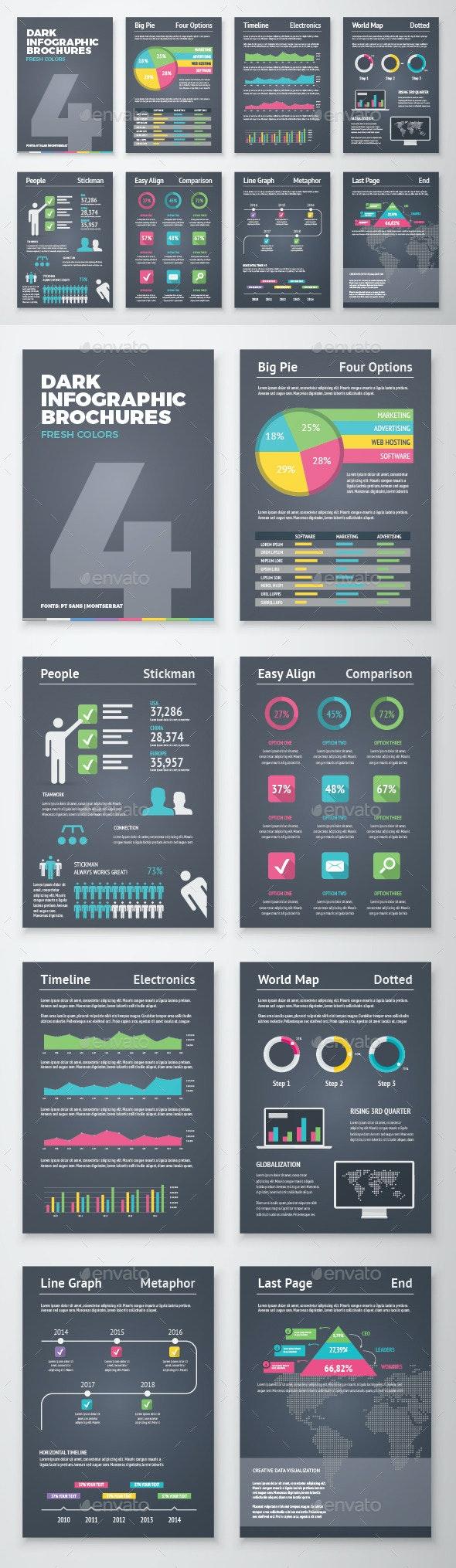 Dark Infographic Brochure Vector Elements Kit 4 - Infographics