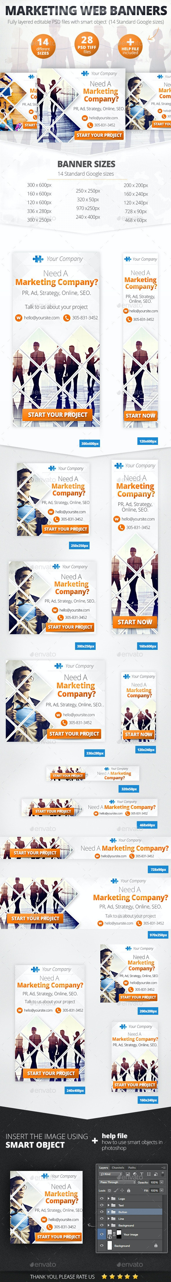 Business Marketing Web Banner Set - Banners & Ads Web Elements