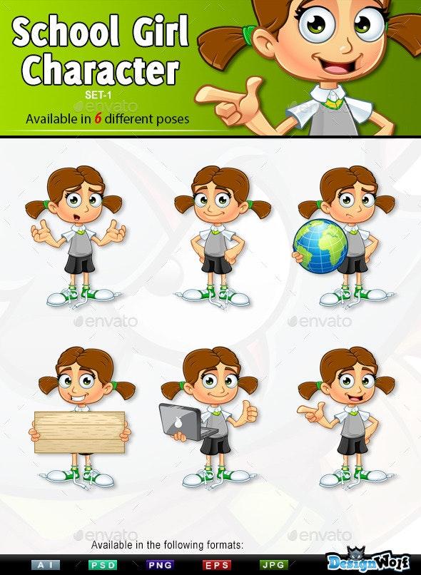 School Girl Character - Set 1 - People Characters