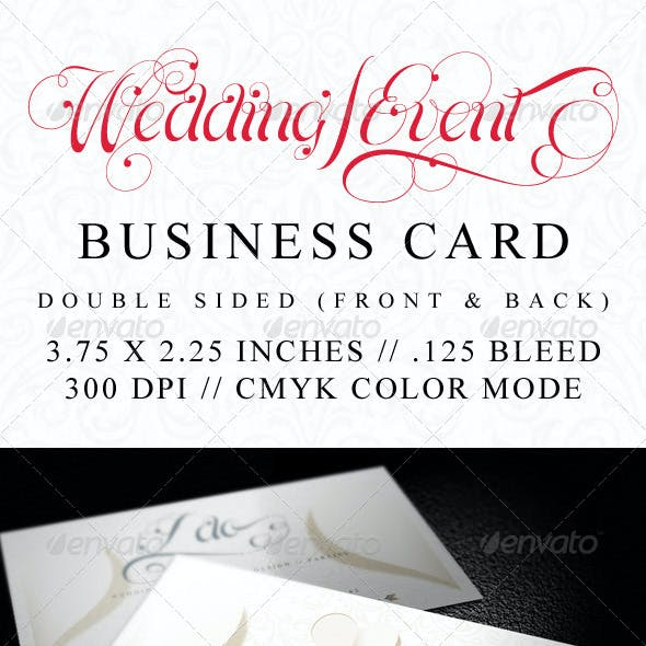 Elegant Wedding and Event Business Card