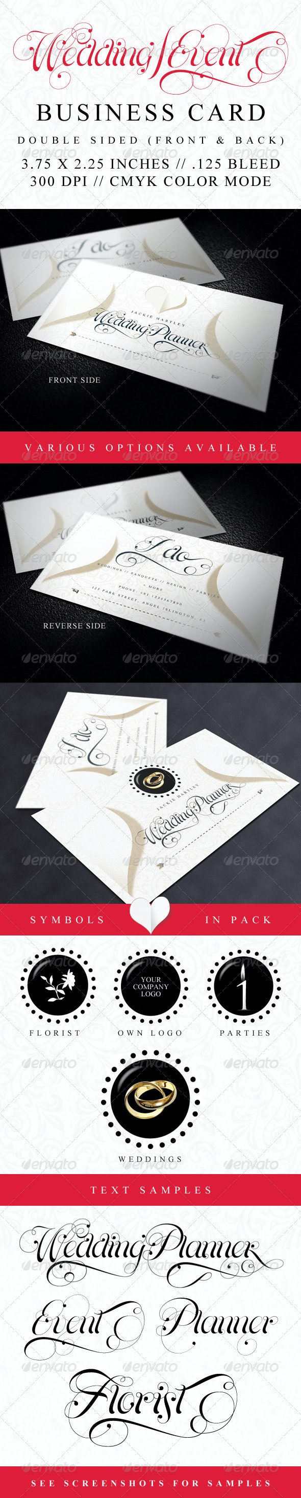 Elegant Wedding and Event Business Card - Industry Specific Business Cards