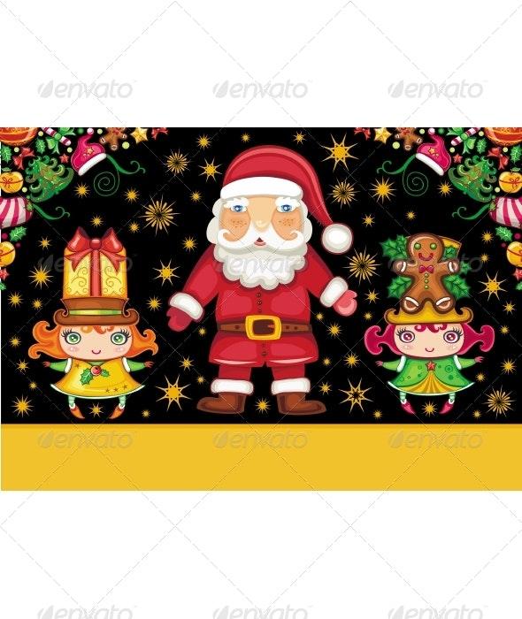 Santa Claus and Cute Girls - Christmas Seasons/Holidays