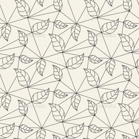 Seamless Leaves Line Pattern Tile Background - Patterns Decorative