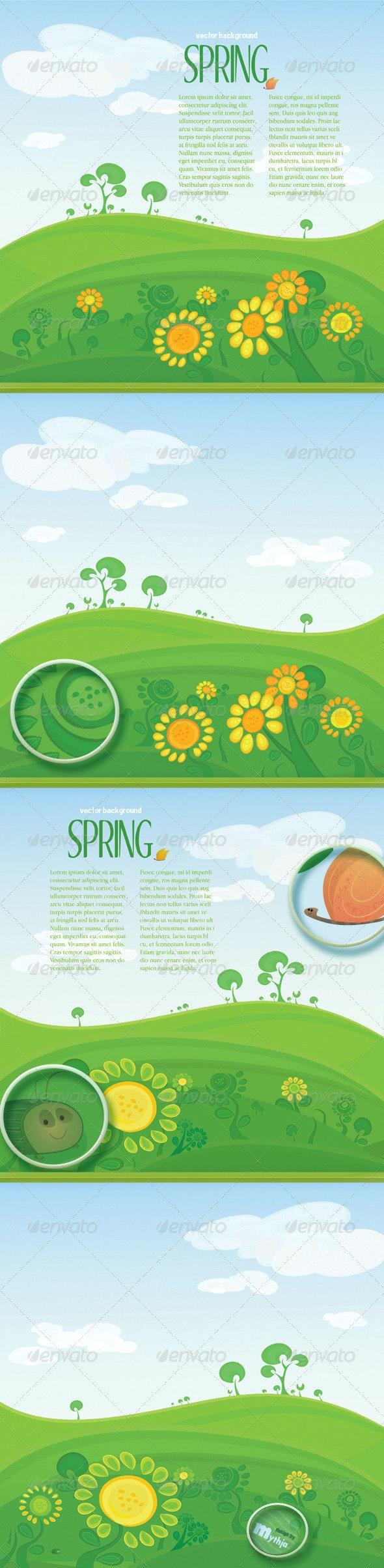 Vector spring landscape with copyspace - Nature Conceptual