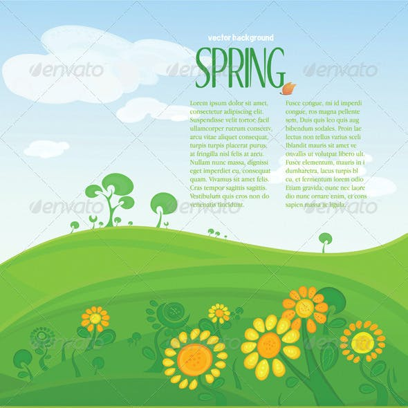 Vector spring landscape with copyspace