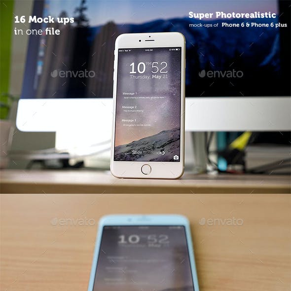 Phone 6 and Phone 6 Plus Photorealistic Mockups