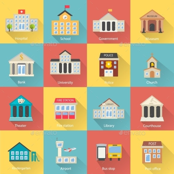 Government Buildings Icons Set With Long Shadow - Concepts Business