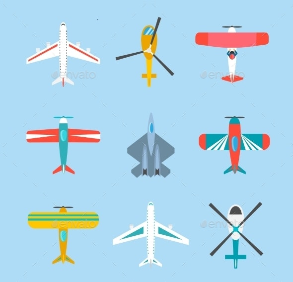 Color Airplanes And Helicopters Icons Set - Travel Conceptual