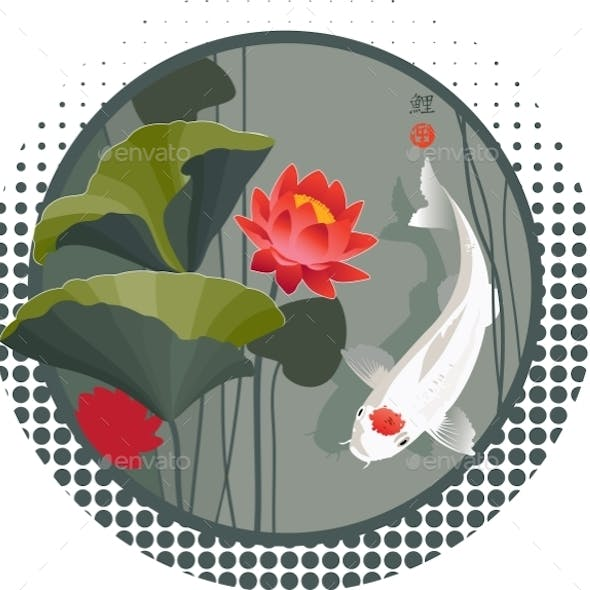 Koi Carp And Lotus Flower