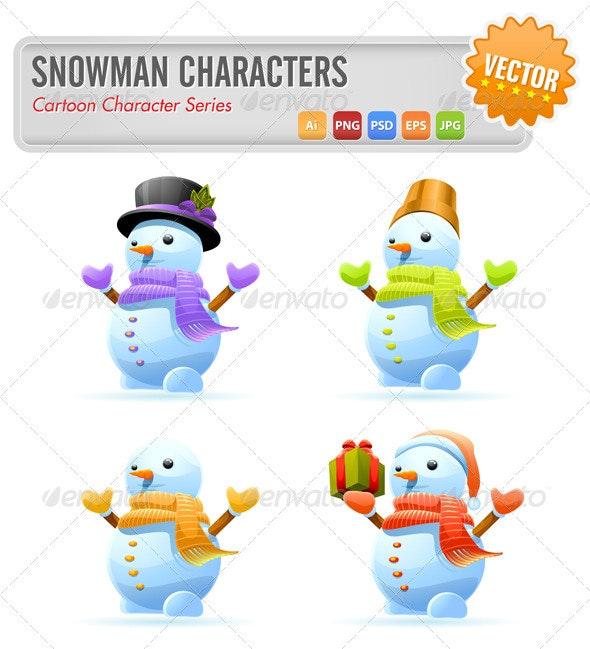 Cute Snowman Characters - Characters Vectors