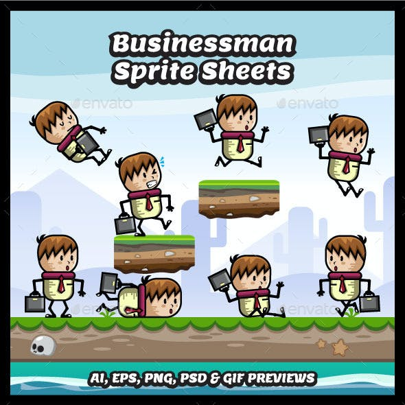 Businessman Game Character Sprite Sheets