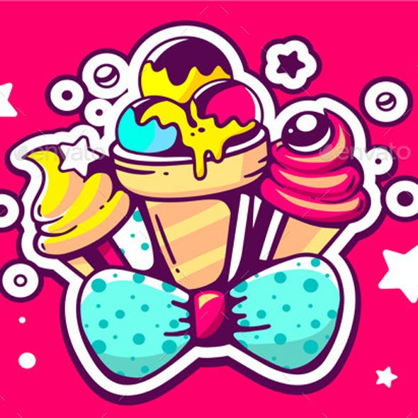 Colorful Ice Creams with Blue Bow