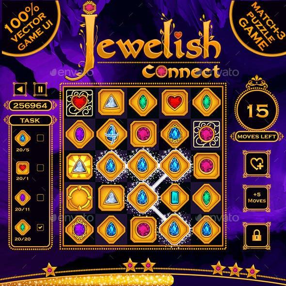 Jewelish Connect Puzzle Game UI Kit