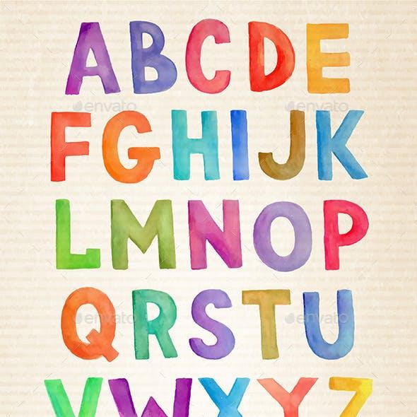 Vector Watercolor Alphabet