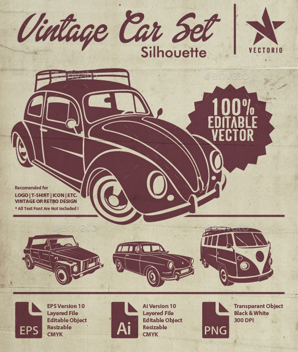 VW Silhouette Car Set by Vectorio | GraphicRiver