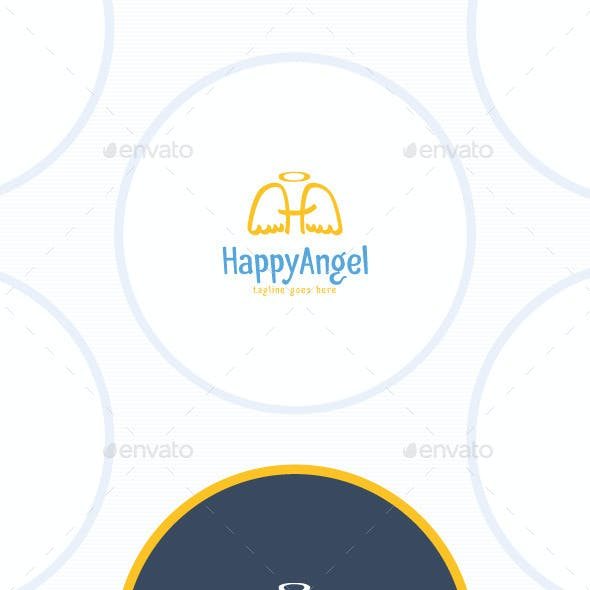 Happy Angel Logo - Letter H