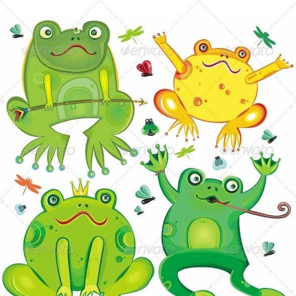 Cute frogs set