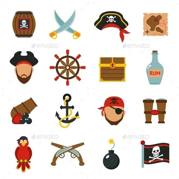 Pirate Icons Set Flat