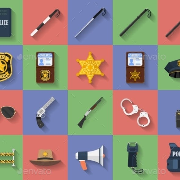 Icon Set of Police Regimentals