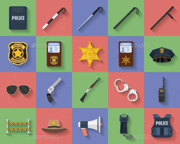 Icon Set of Police Regimentals - Man-made Objects Objects