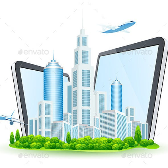 Business City with Two Tablet Computers