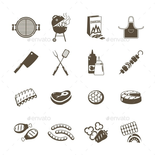 Barbecue and Grill Icons Black Set - Food Objects