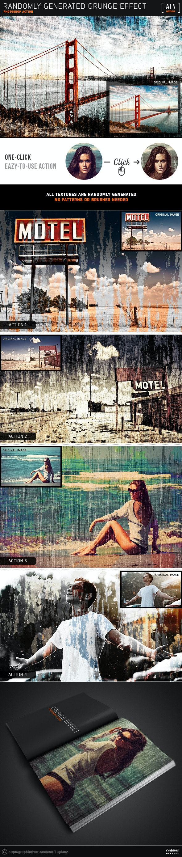 Randomly Generated Grunge Effect - Photo Effects Actions